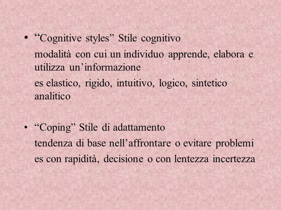 Cognitive styles Stile cognitivo
