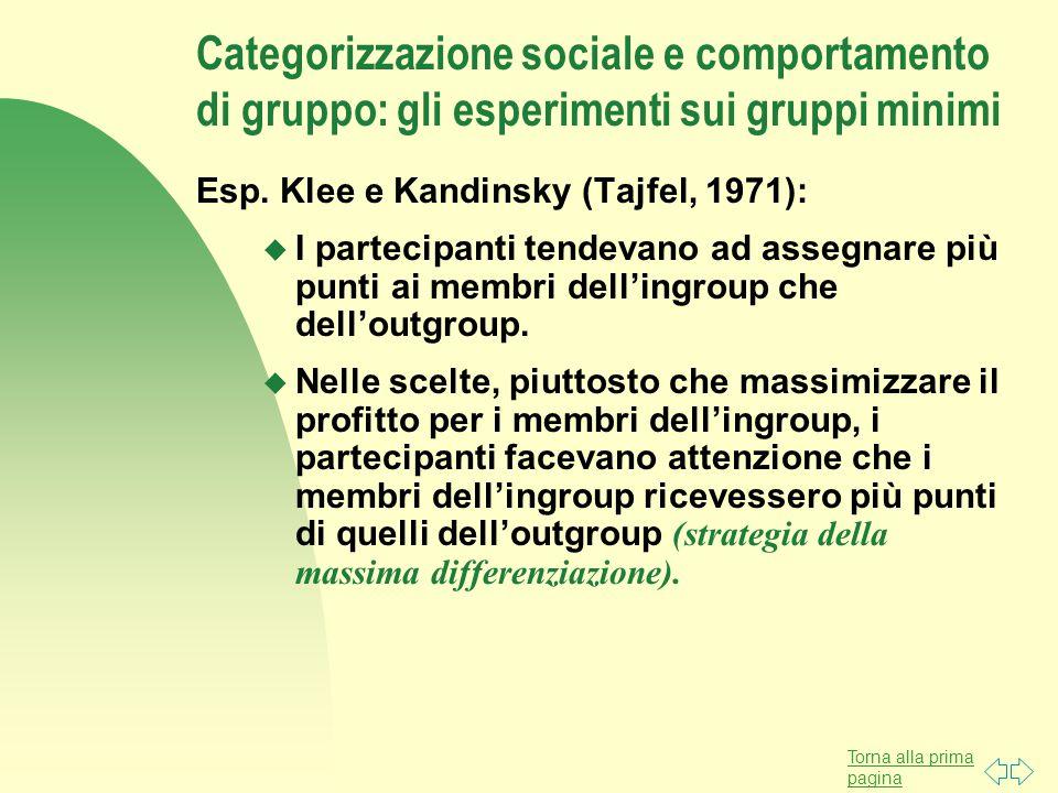 Categorizzazione sociale e comportamento di gruppo: gli esperimenti sui gruppi minimi