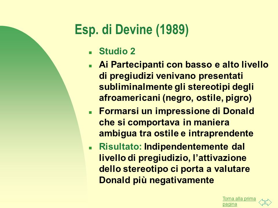 Esp. di Devine (1989) Studio 2.