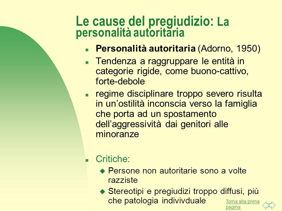 Le cause del pregiudizio: La personalità autoritaria