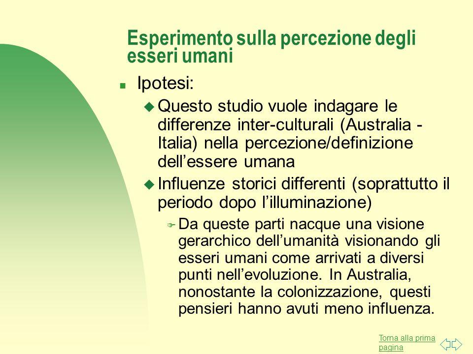 Esperimento sulla percezione degli esseri umani