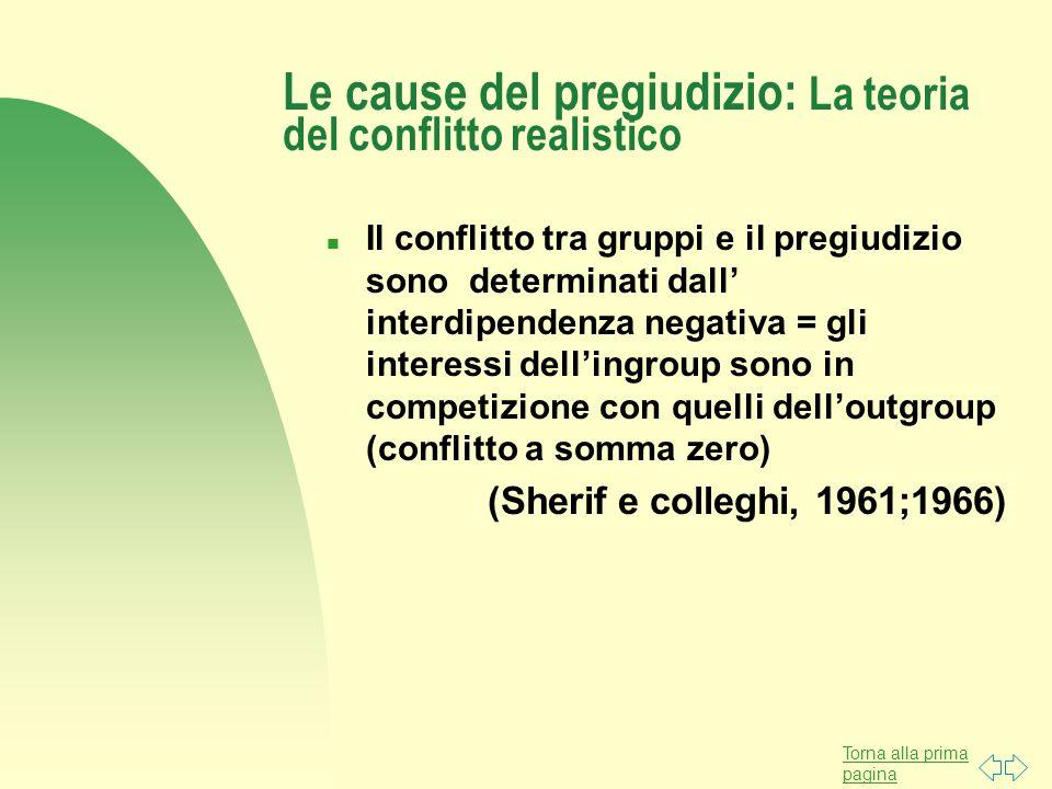Le cause del pregiudizio: La teoria del conflitto realistico