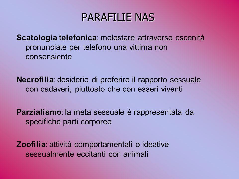 PARAFILIE NAS Scatologia telefonica: molestare attraverso oscenità pronunciate per telefono una vittima non consensiente.