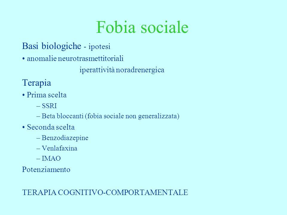 Fobia sociale Basi biologiche - ipotesi Terapia
