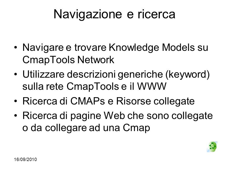 Navigazione e ricerca Navigare e trovare Knowledge Models su CmapTools Network.
