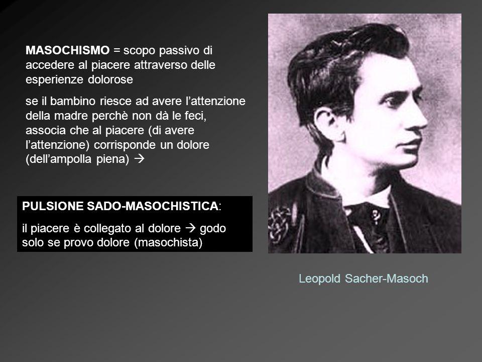 MASOCHISMO = scopo passivo di accedere al piacere attraverso delle esperienze dolorose