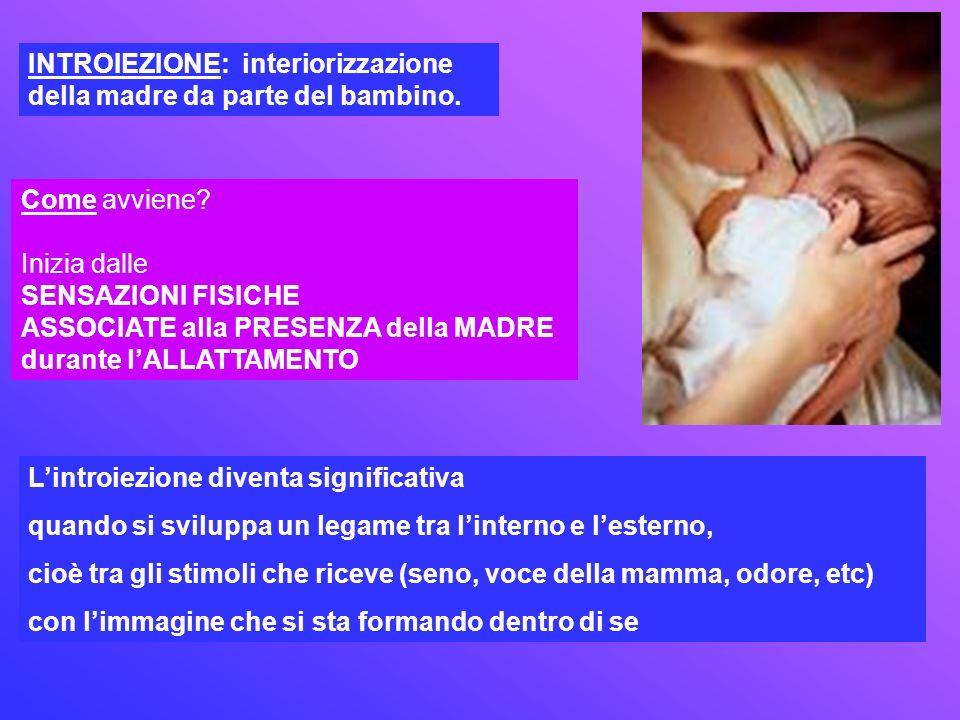 INTROIEZIONE: interiorizzazione della madre da parte del bambino.