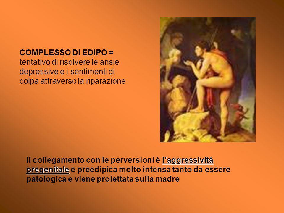 COMPLESSO DI EDIPO = tentativo di risolvere le ansie depressive e i sentimenti di colpa attraverso la riparazione