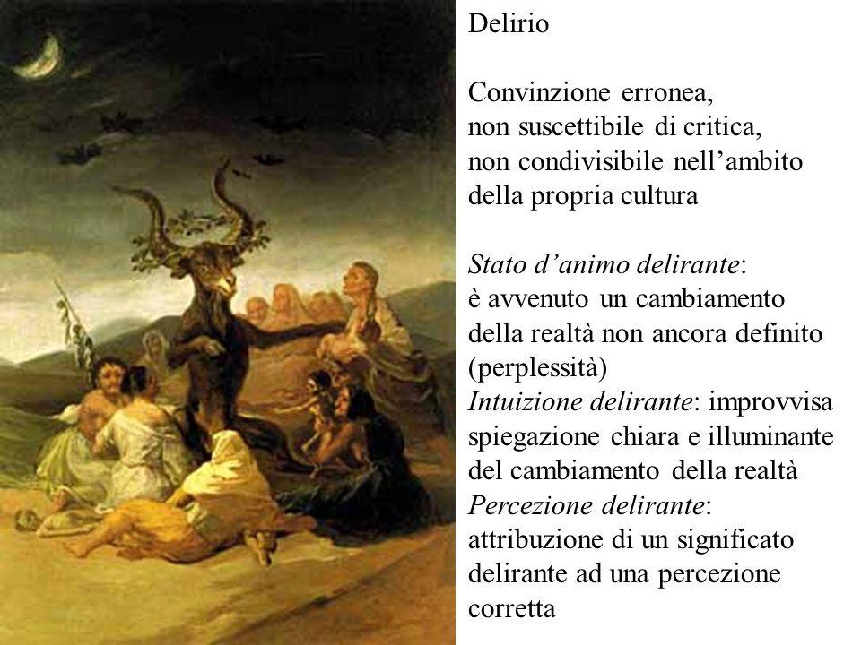 Delirio Convinzione erronea, non suscettibile di critica, non condivisibile nell'ambito. della propria cultura.