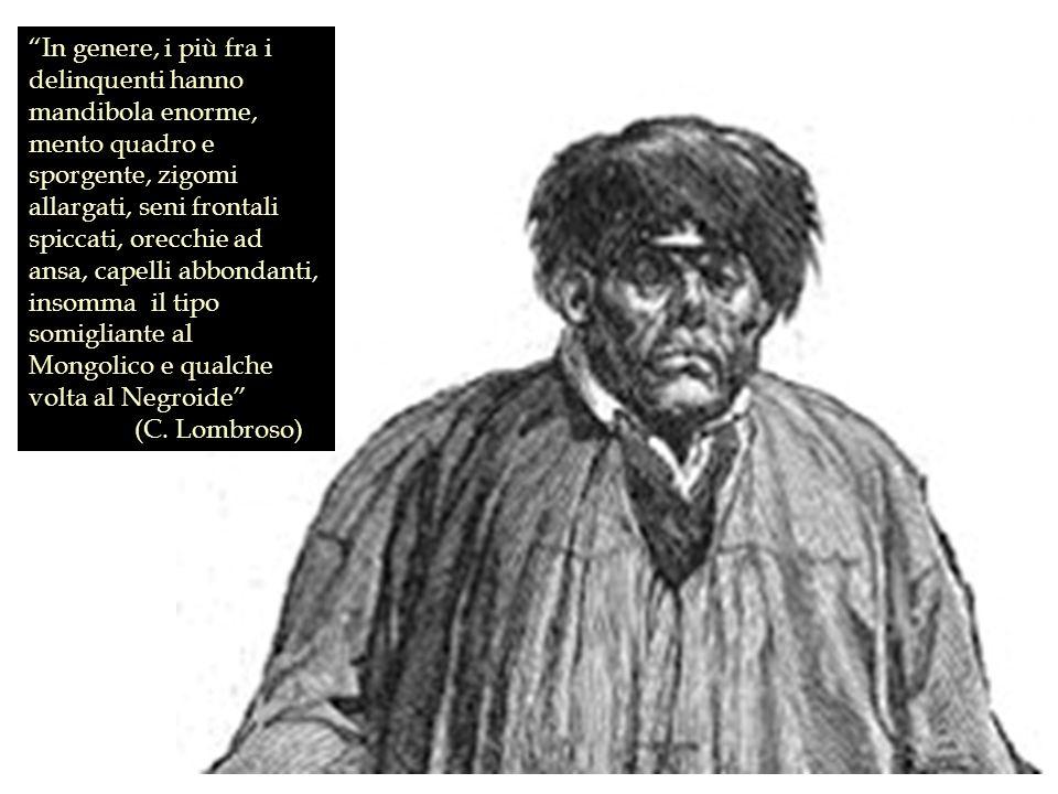 In genere, i più fra i delinquenti hanno mandibola enorme, mento quadro e sporgente, zigomi allargati, seni frontali spiccati, orecchie ad ansa, capelli abbondanti, insomma il tipo somigliante al Mongolico e qualche volta al Negroide