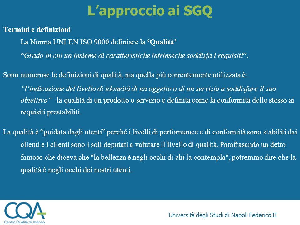 L'approccio ai SGQ Termini e definizioni