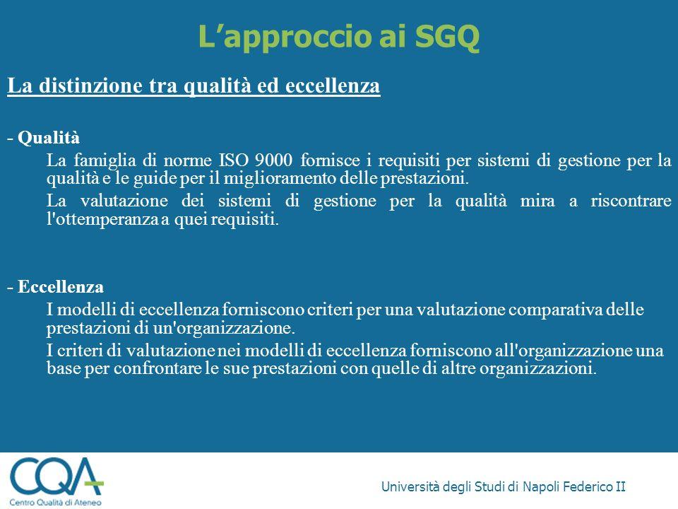 L'approccio ai SGQ La distinzione tra qualità ed eccellenza - Qualità