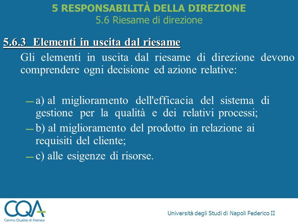 5 RESPONSABILITÀ DELLA DIREZIONE 5.6 Riesame di direzione