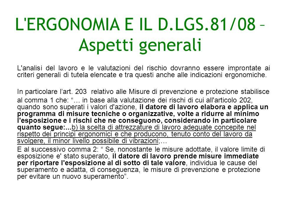 L ERGONOMIA E IL D.LGS.81/08 – Aspetti generali