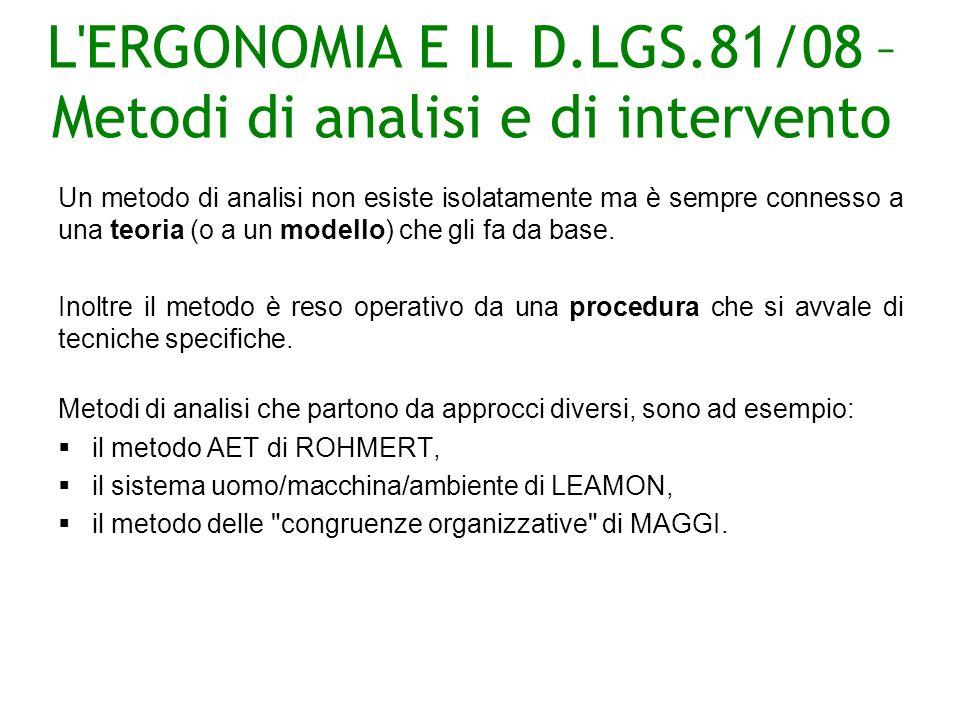 L ERGONOMIA E IL D.LGS.81/08 –Metodi di analisi e di intervento