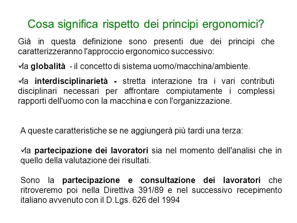 Cosa significa rispetto dei principi ergonomici