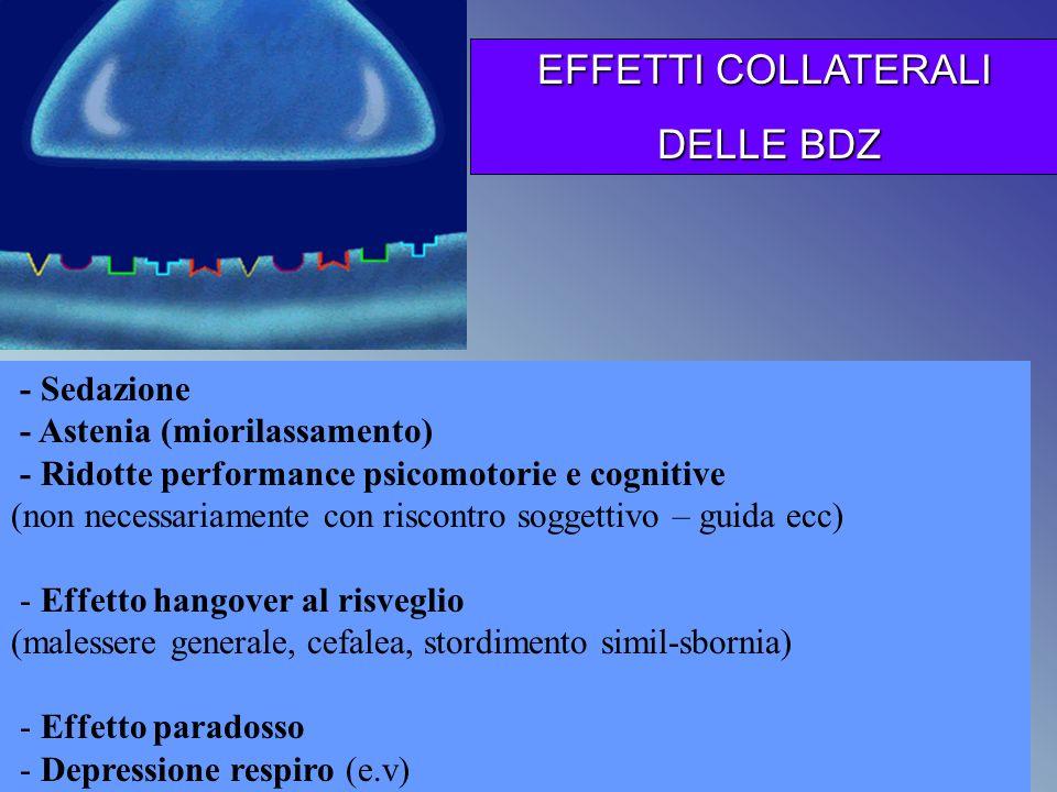 EFFETTI COLLATERALI DELLE BDZ - Sedazione - Astenia (miorilassamento)