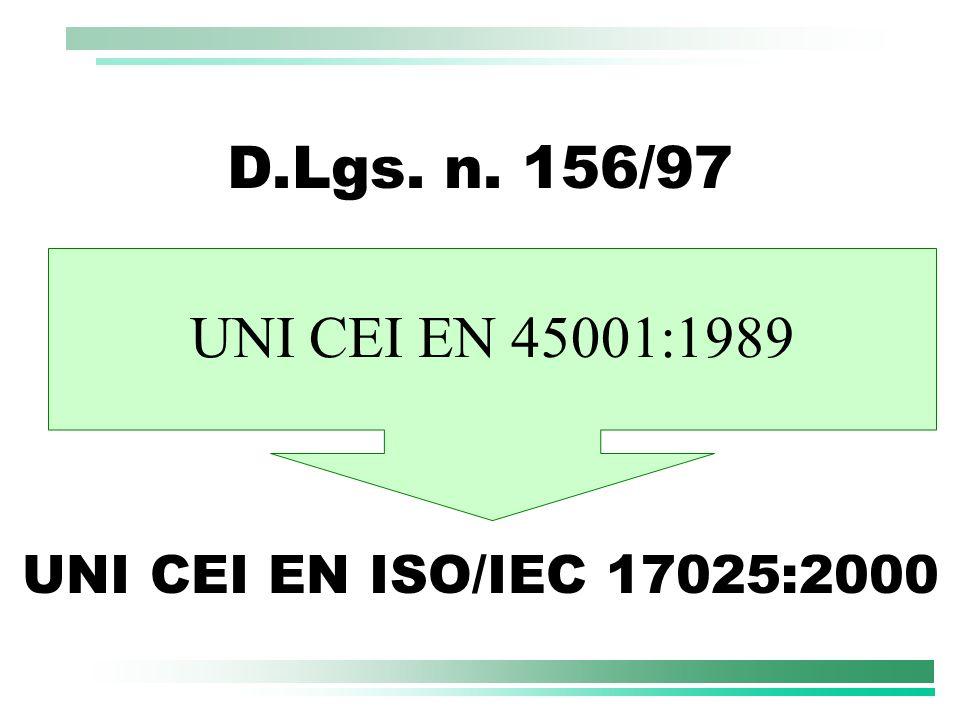 D.Lgs. n. 156/97 UNI CEI EN 45001:1989 UNI CEI EN ISO/IEC 17025:2000