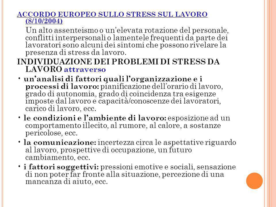 INDIVIDUAZIONE DEI PROBLEMI DI STRESS DA LAVORO attraverso