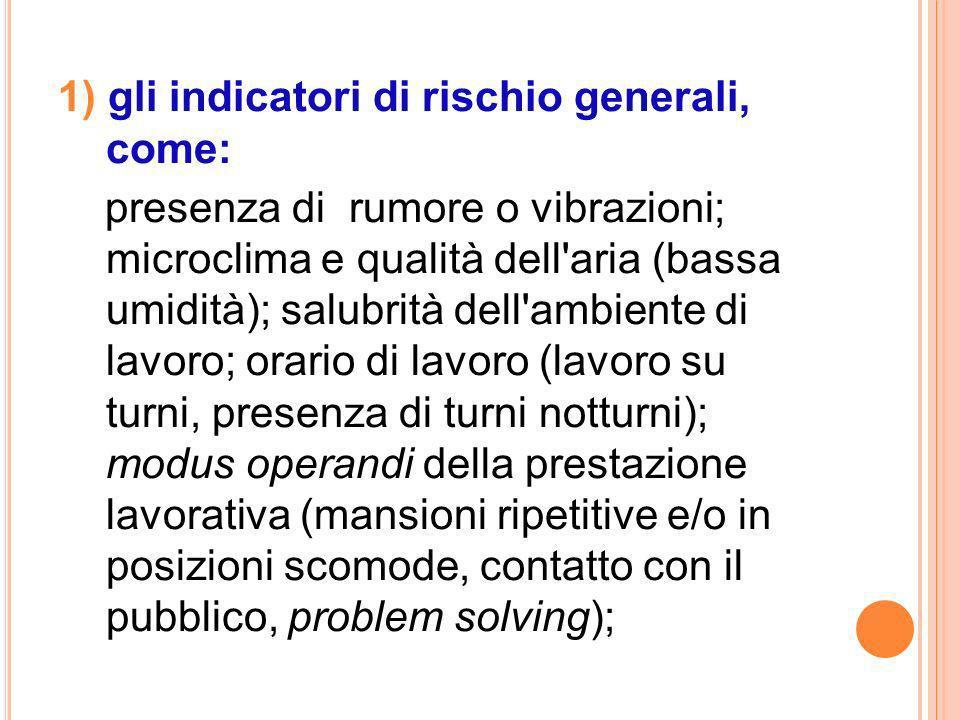 1) gli indicatori di rischio generali, come:
