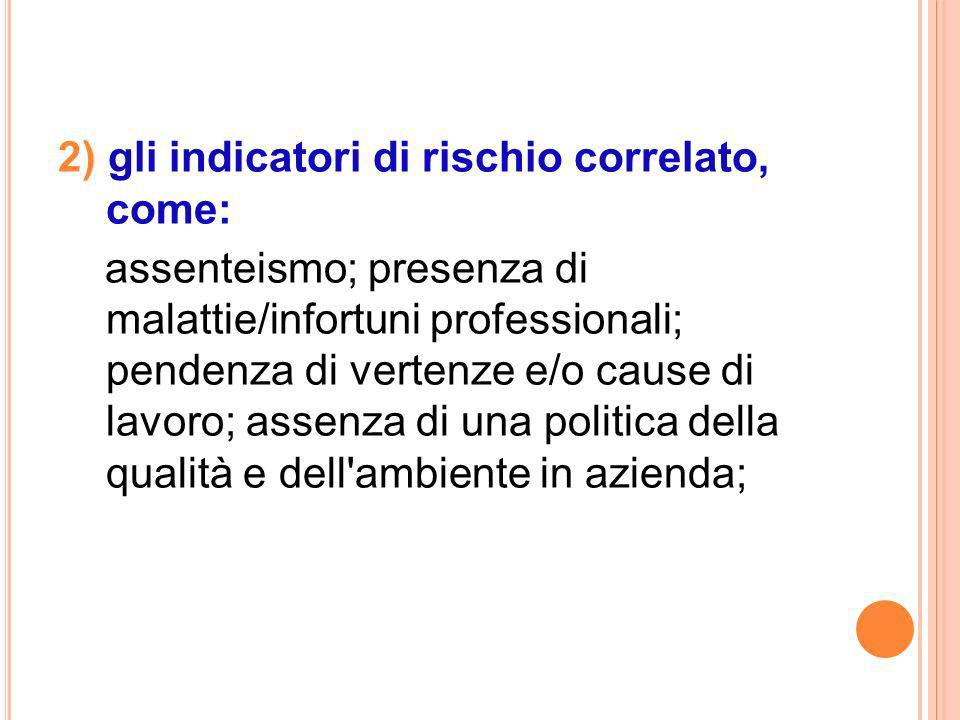 2) gli indicatori di rischio correlato, come: