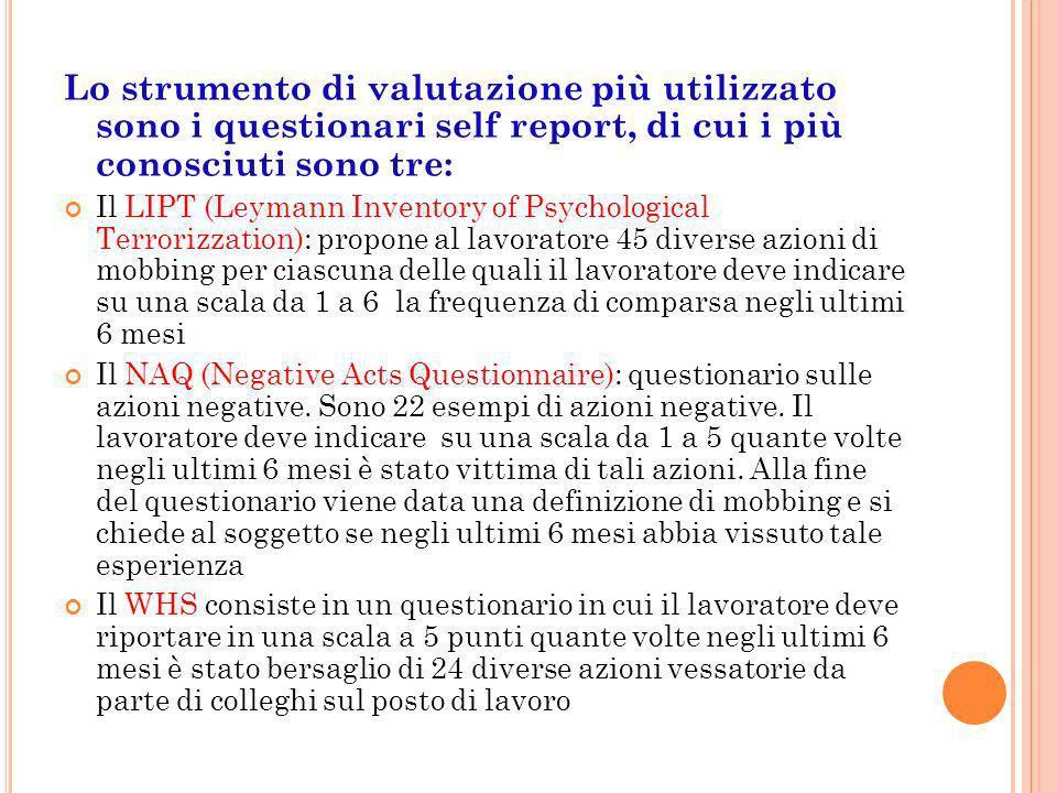 Lo strumento di valutazione più utilizzato sono i questionari self report, di cui i più conosciuti sono tre: