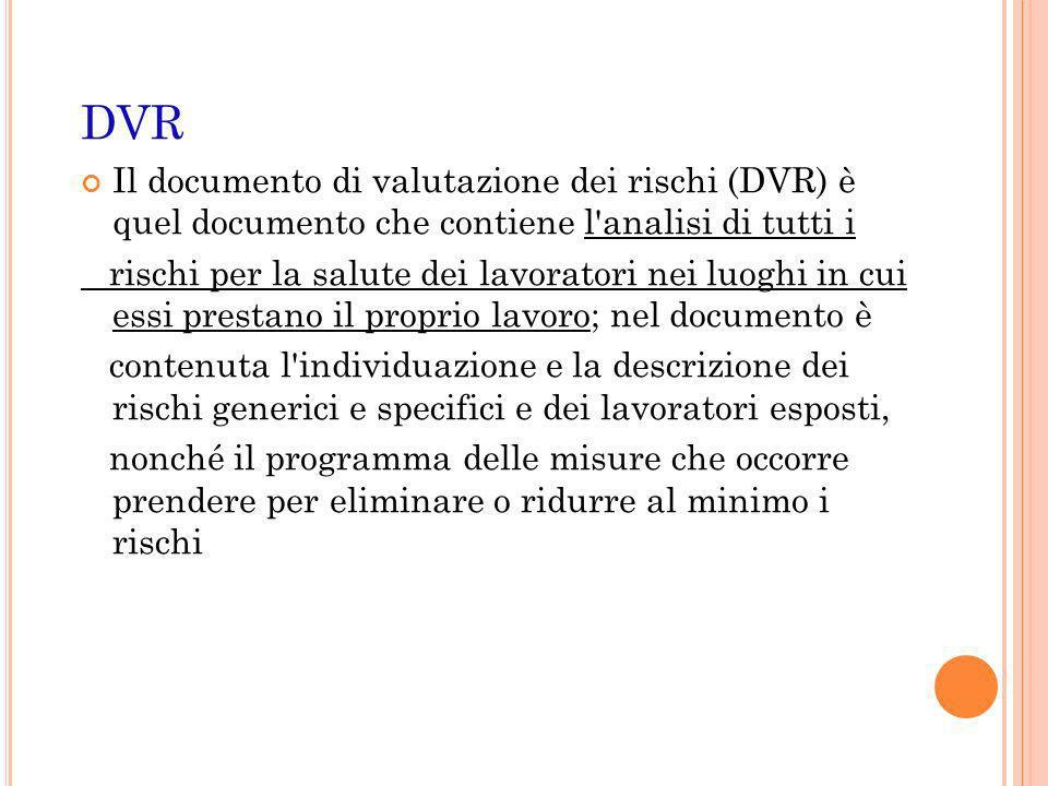 DVR Il documento di valutazione dei rischi (DVR) è quel documento che contiene l analisi di tutti i.