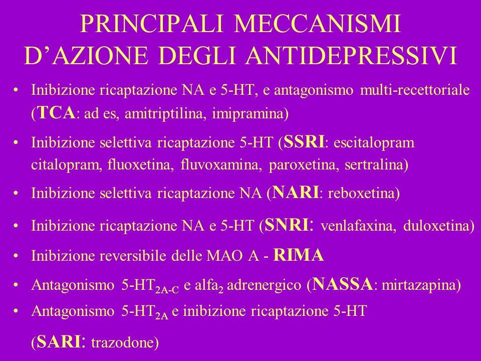 PRINCIPALI MECCANISMI D'AZIONE DEGLI ANTIDEPRESSIVI