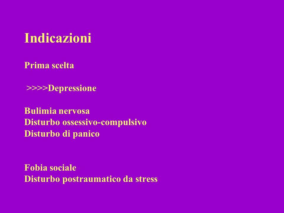 Indicazioni Prima scelta >>>>Depressione Bulimia nervosa Disturbo ossessivo-compulsivo Disturbo di panico Fobia sociale Disturbo postraumatico da stress