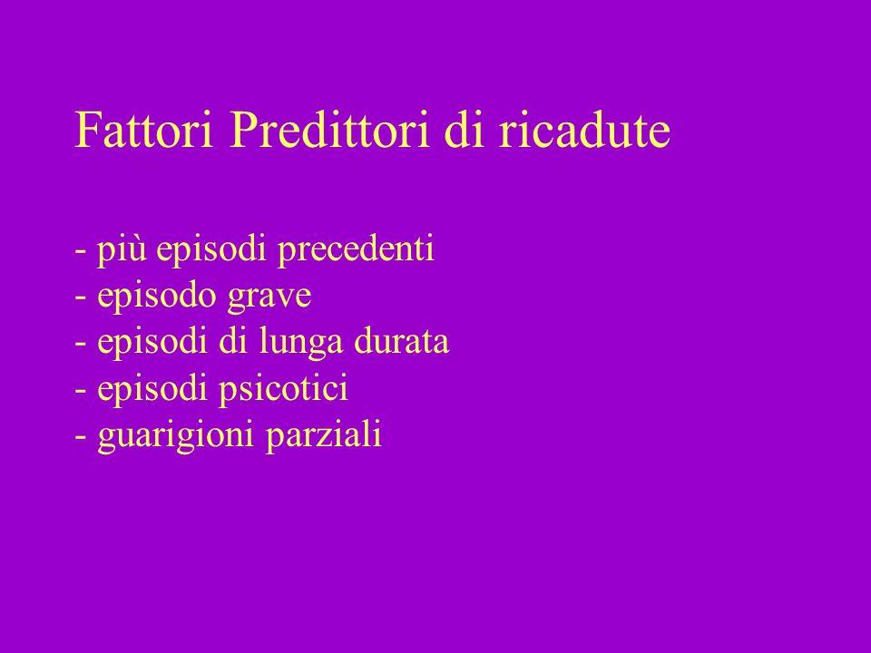 Fattori Predittori di ricadute - più episodi precedenti - episodo grave - episodi di lunga durata - episodi psicotici - guarigioni parziali