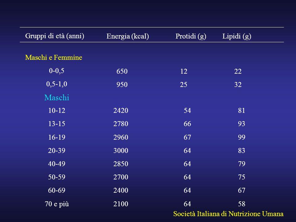 Maschi Gruppi di età (anni) Energia (kcal) Protidi (g) Lipidi (g)
