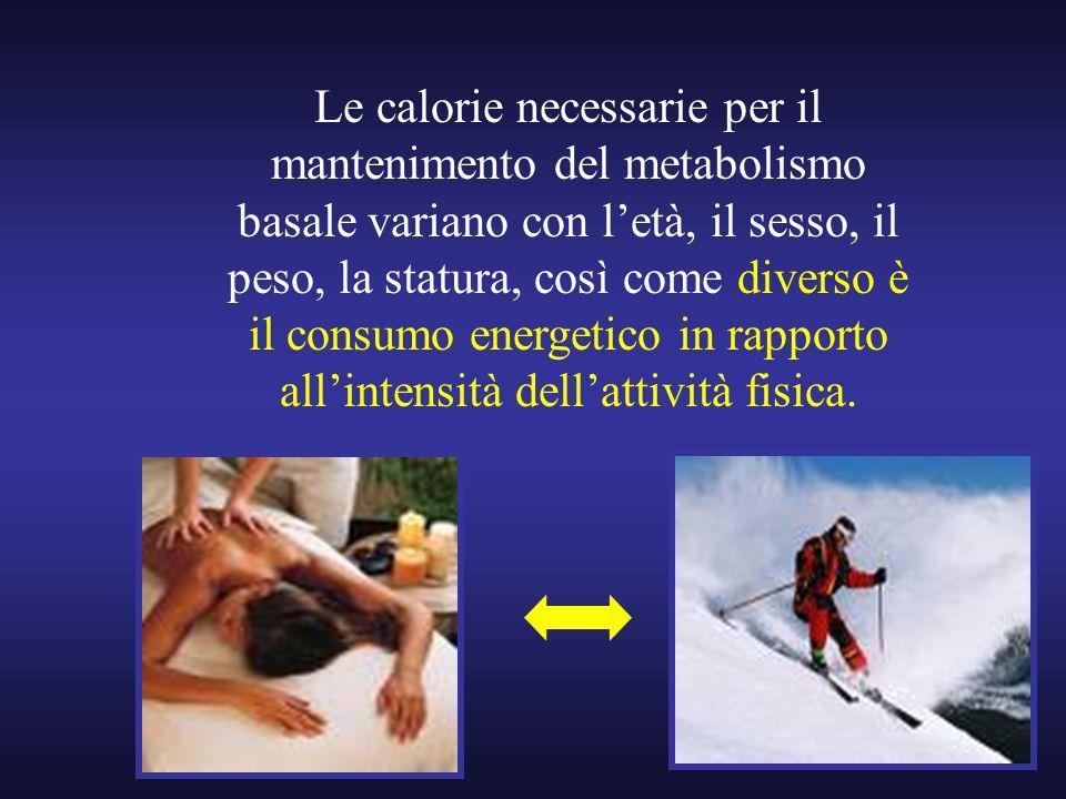 Le calorie necessarie per il mantenimento del metabolismo basale variano con l'età, il sesso, il peso, la statura, così come diverso è il consumo energetico in rapporto all'intensità dell'attività fisica.
