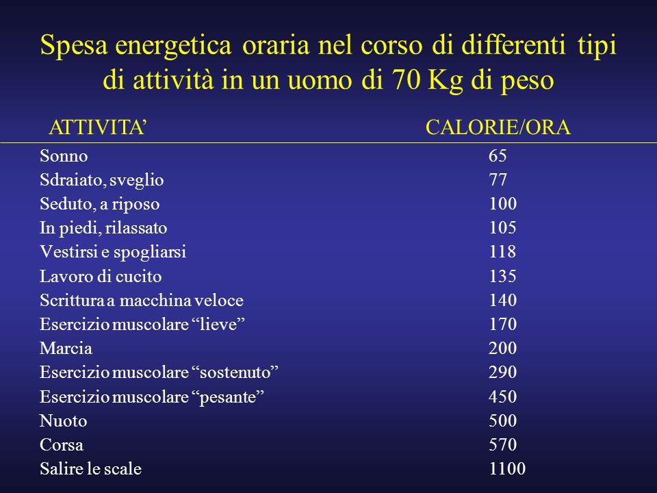 Spesa energetica oraria nel corso di differenti tipi di attività in un uomo di 70 Kg di peso