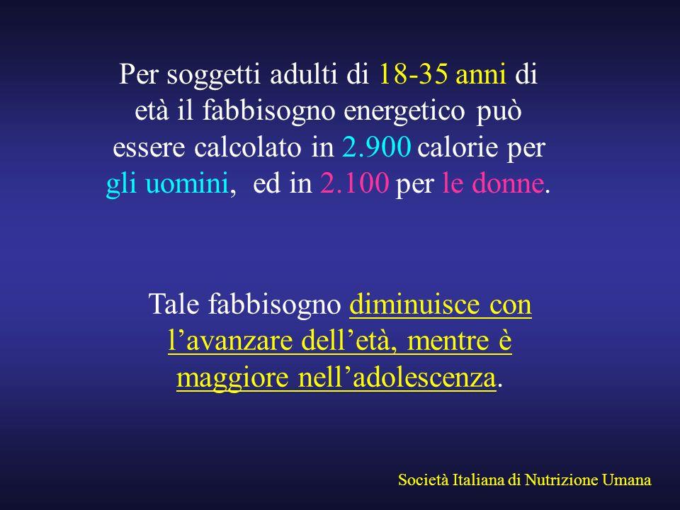 Per soggetti adulti di 18-35 anni di età il fabbisogno energetico può essere calcolato in 2.900 calorie per gli uomini, ed in 2.100 per le donne.