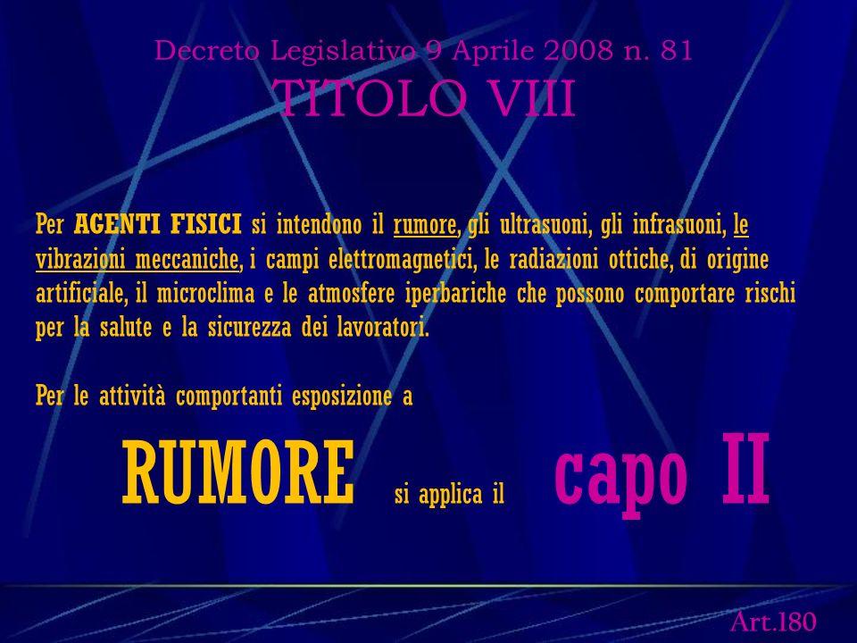 Decreto Legislativo 9 Aprile 2008 n. 81 TITOLO VIII