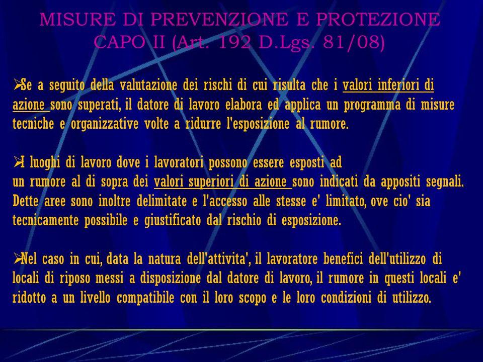 MISURE DI PREVENZIONE E PROTEZIONE CAPO II (Art. 192 D.Lgs. 81/08)