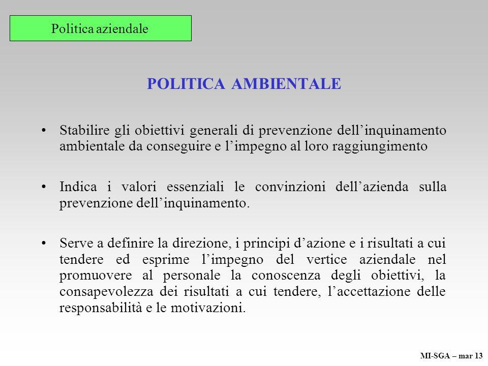 Politica aziendale POLITICA AMBIENTALE.