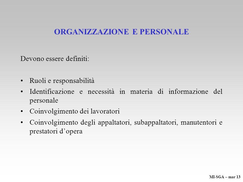 ORGANIZZAZIONE E PERSONALE
