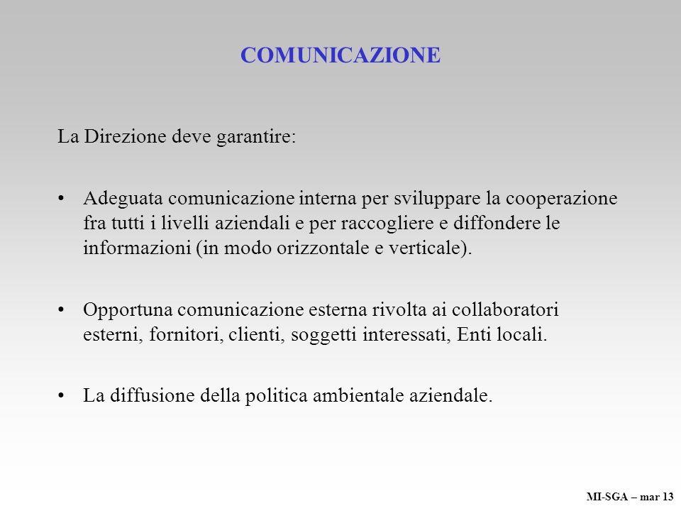 COMUNICAZIONE La Direzione deve garantire: