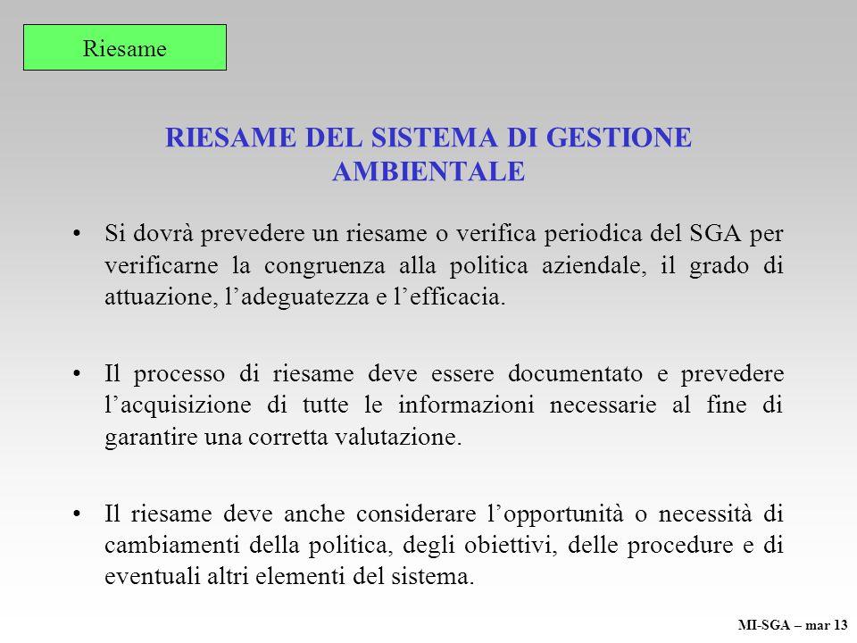 RIESAME DEL SISTEMA DI GESTIONE AMBIENTALE