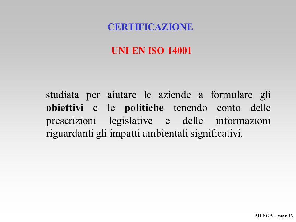 CERTIFICAZIONE UNI EN ISO 14001