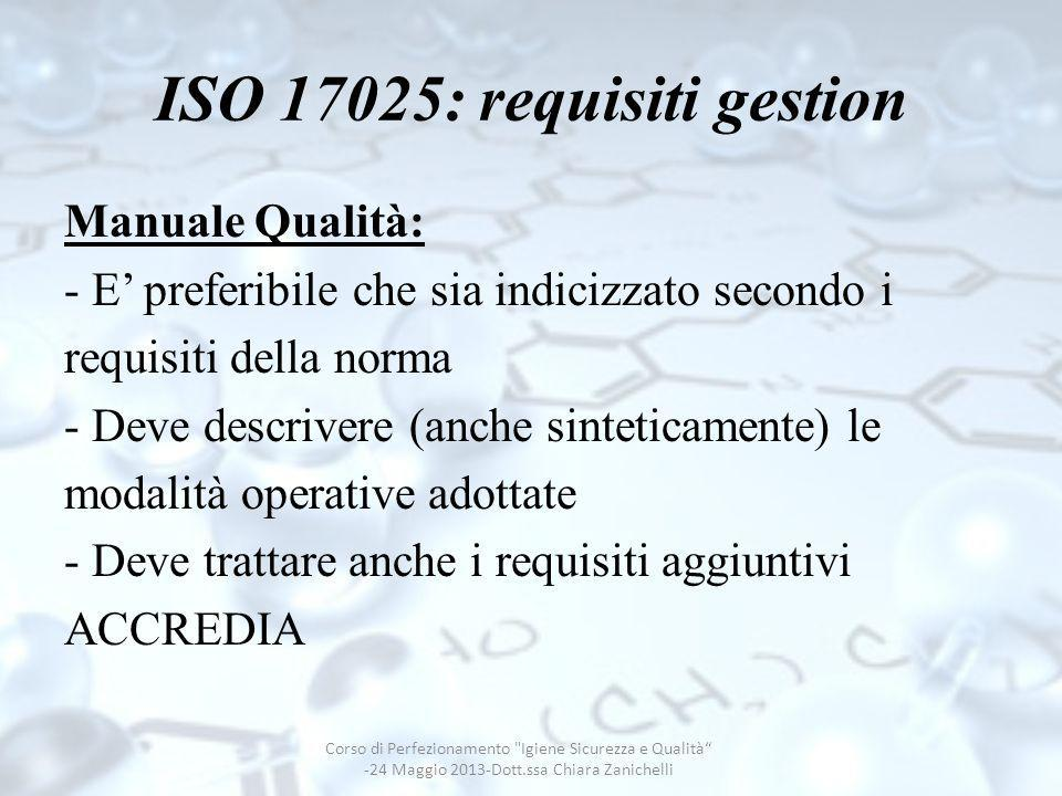ISO 17025: requisiti gestion