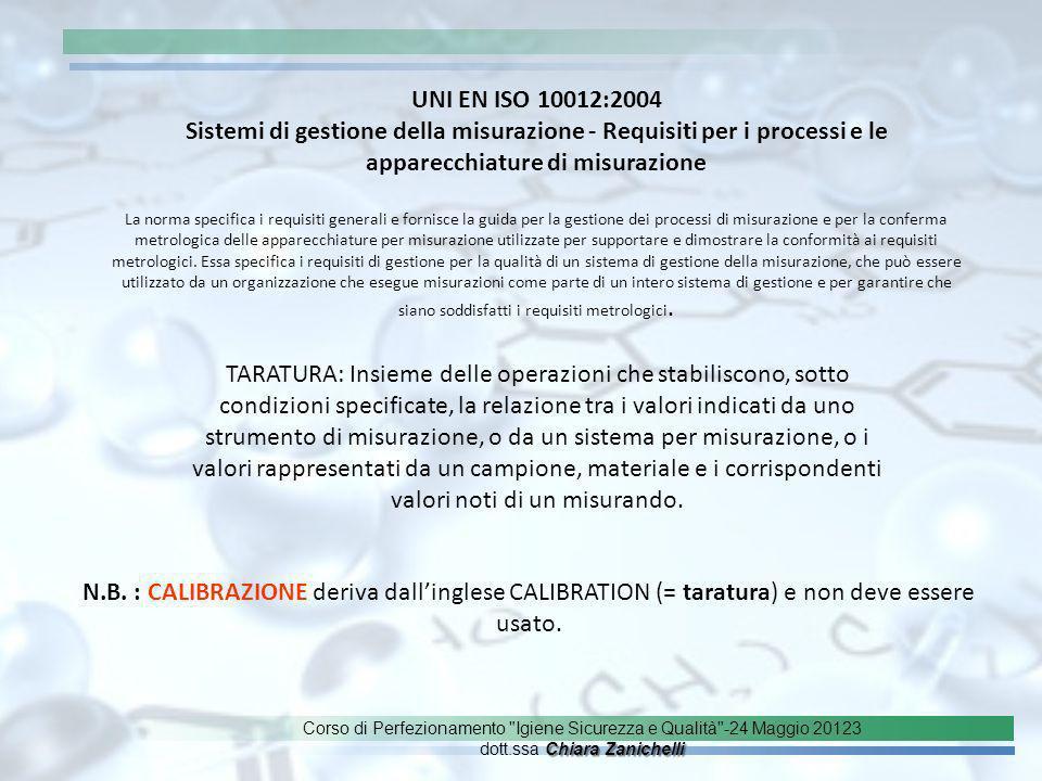 UNI EN ISO 10012:2004 Sistemi di gestione della misurazione - Requisiti per i processi e le apparecchiature di misurazione.