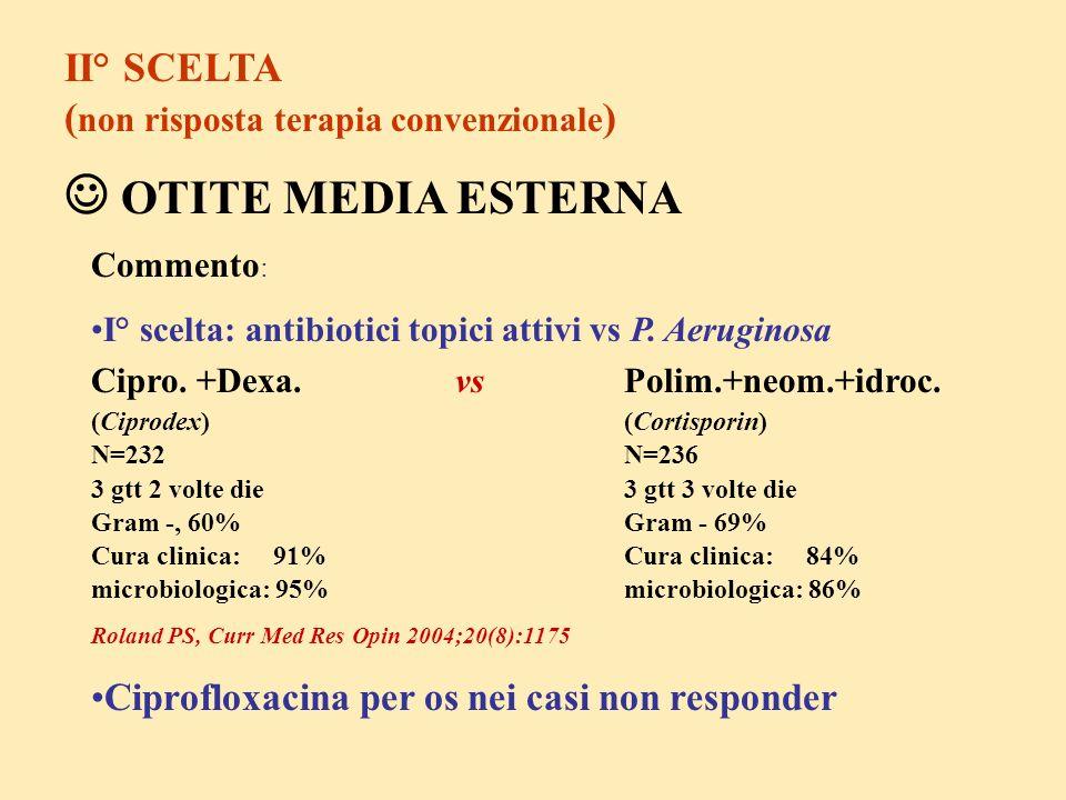  OTITE MEDIA ESTERNA II° SCELTA (non risposta terapia convenzionale)