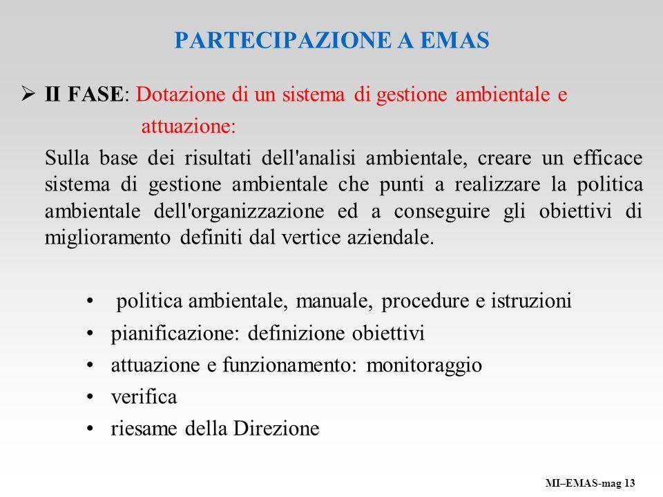 PARTECIPAZIONE A EMAS II FASE: Dotazione di un sistema di gestione ambientale e. attuazione: