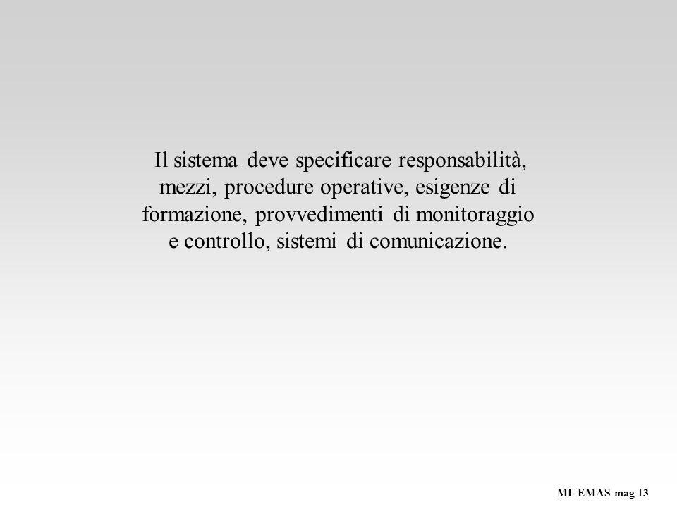 Il sistema deve specificare responsabilità, mezzi, procedure operative, esigenze di formazione, provvedimenti di monitoraggio e controllo, sistemi di comunicazione.