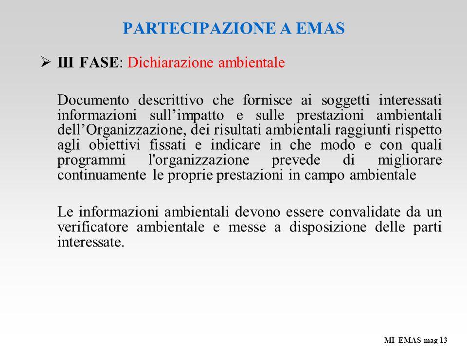 PARTECIPAZIONE A EMAS III FASE: Dichiarazione ambientale