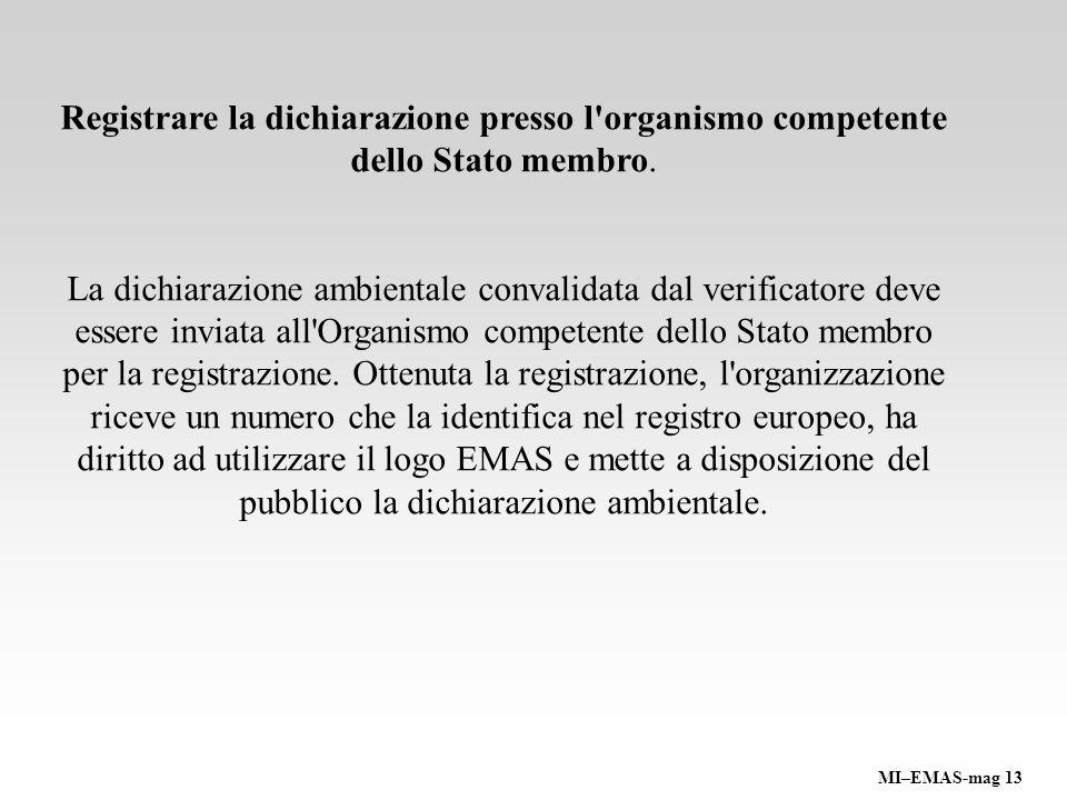 Registrare la dichiarazione presso l organismo competente dello Stato membro.