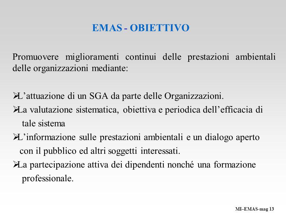 EMAS - OBIETTIVO Promuovere miglioramenti continui delle prestazioni ambientali delle organizzazioni mediante: