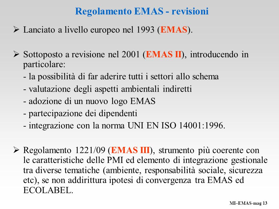 Regolamento EMAS - revisioni